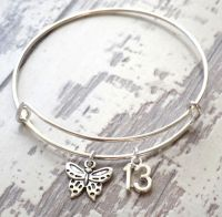 13th Birthday Butterfly and Number Charm Bracelet