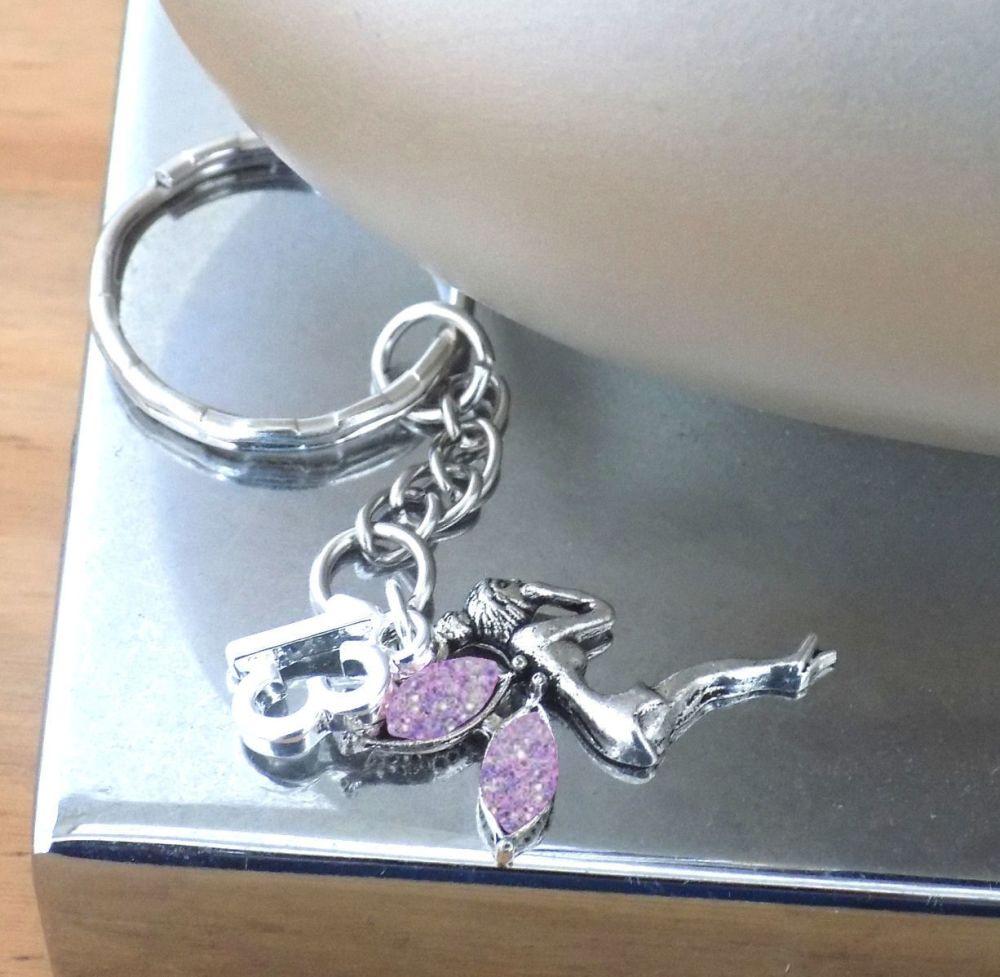 13th Birthday Silver Fairy Charm Keyring