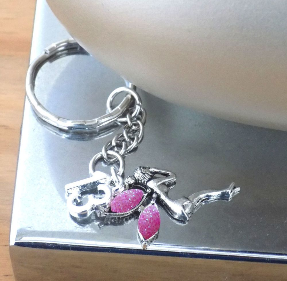 13th Birthday Silver Fairy Charm Keyring with Pink Fairy Wings