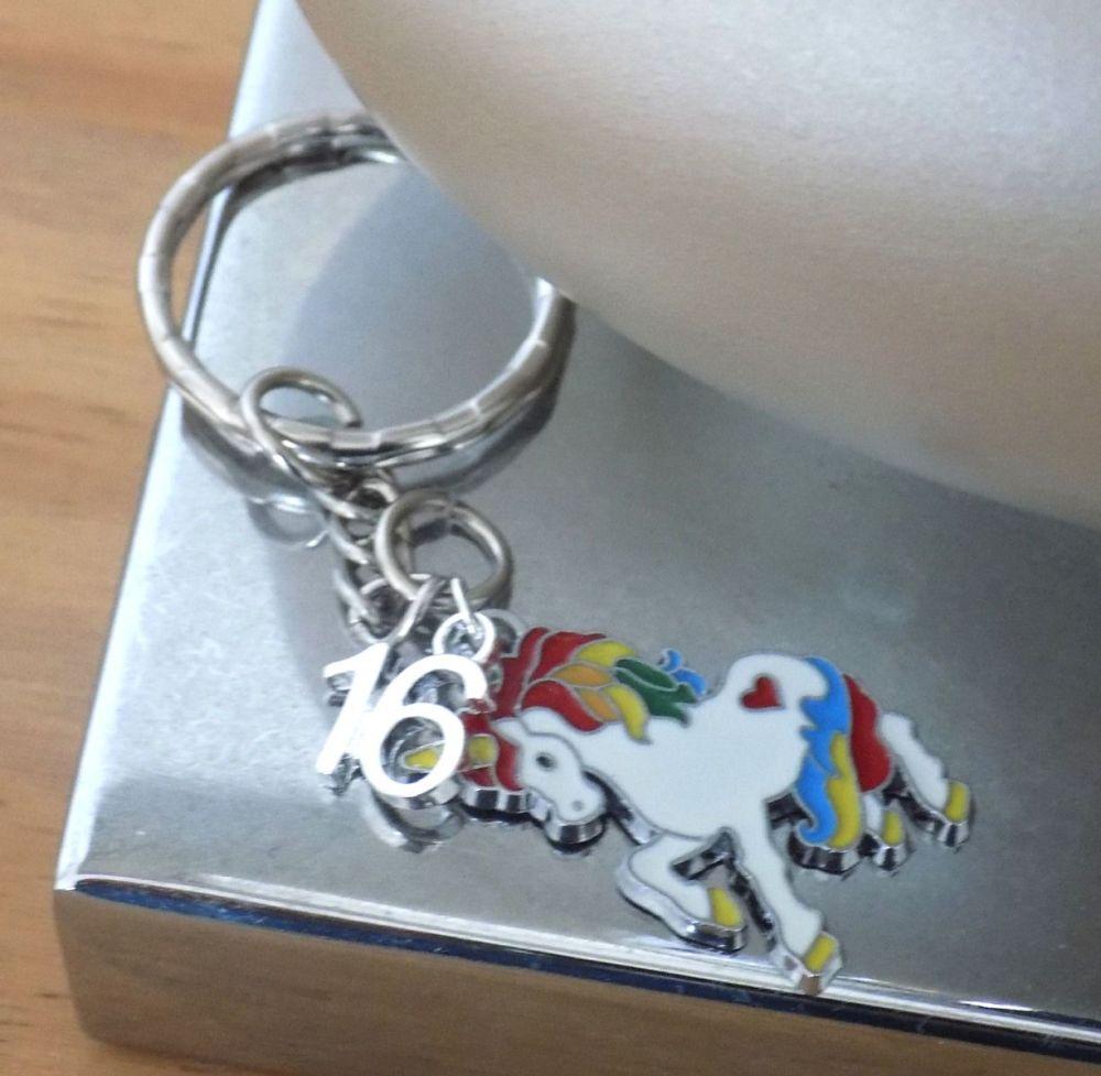 16th Birthday Unicorn Charm Silver Keyring