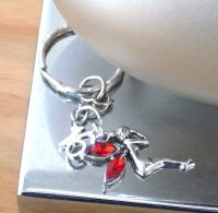 16th Birthday Fairy Keyring with Red Gem Wings
