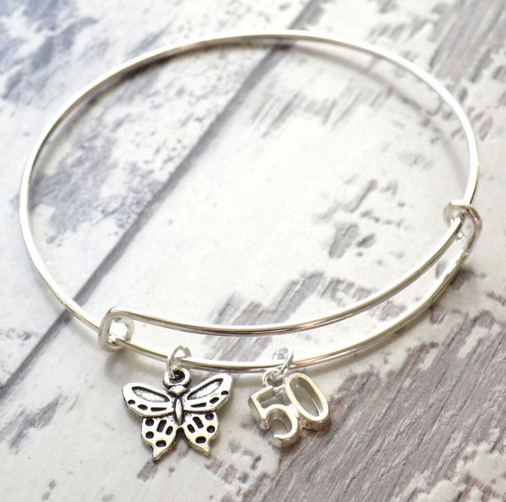 50th Birthday Butterfly and Number Charm Bracelet