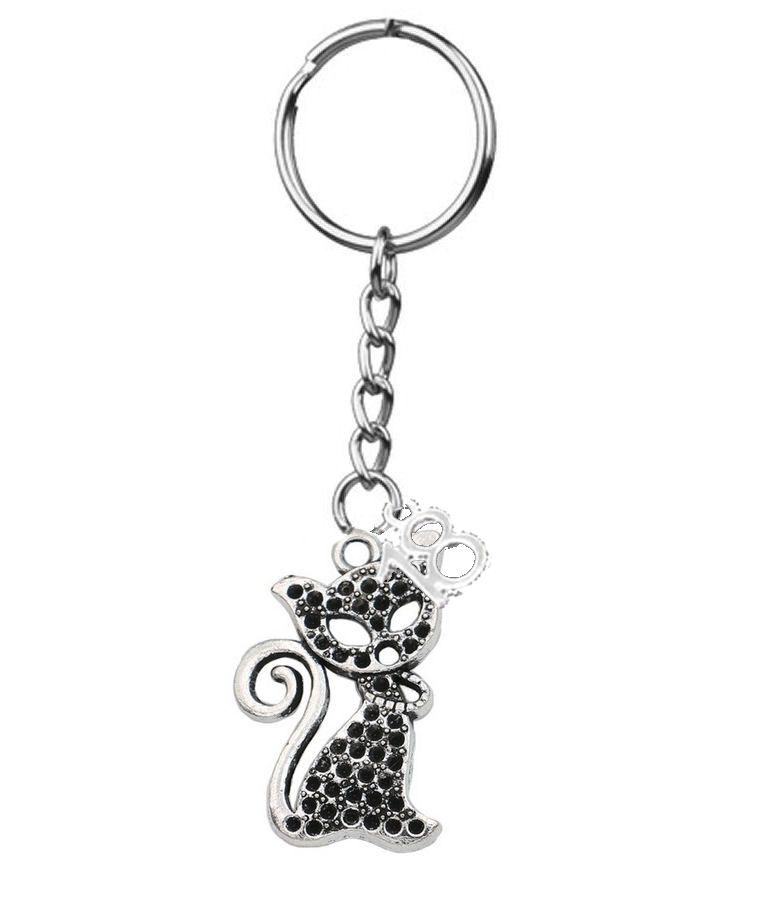 18th Birthday Silver Cat Charm Keyring