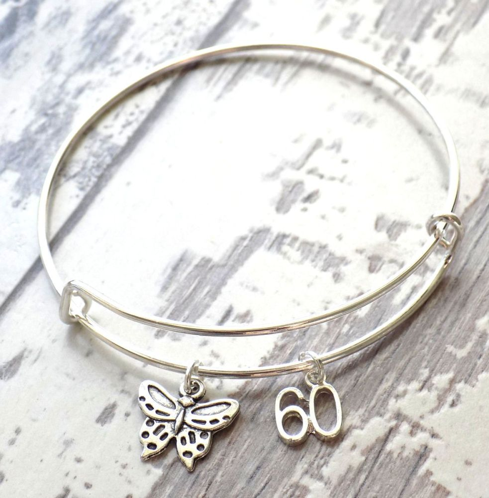 60th Birthday Butterfly and Number Charm Bracelet