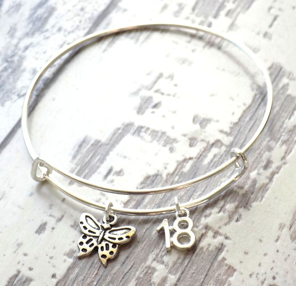 18th Birthday Butterfly and Number Charm Bracelet