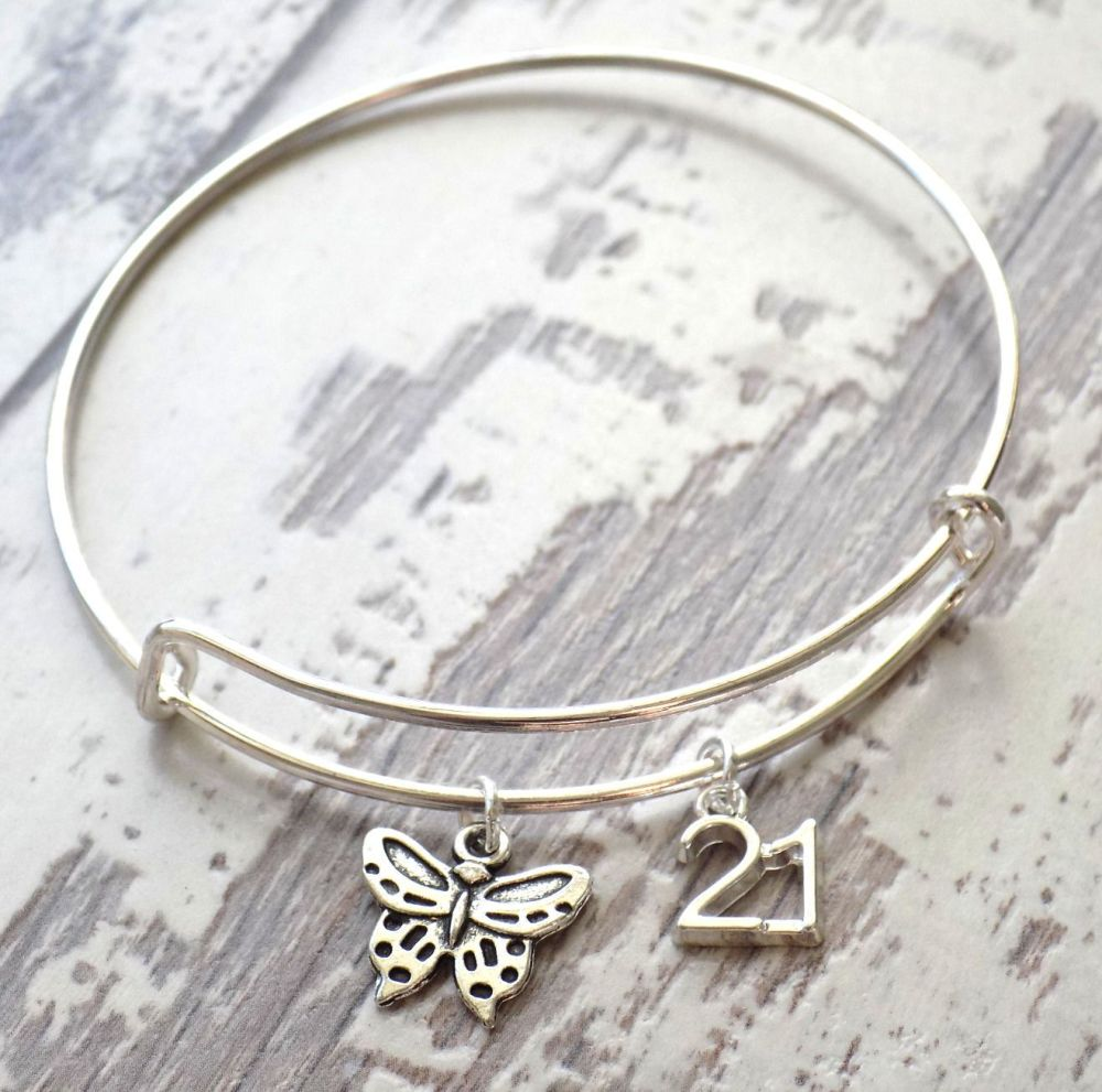 21st Birthday Butterfly and Number Charm Bracelet