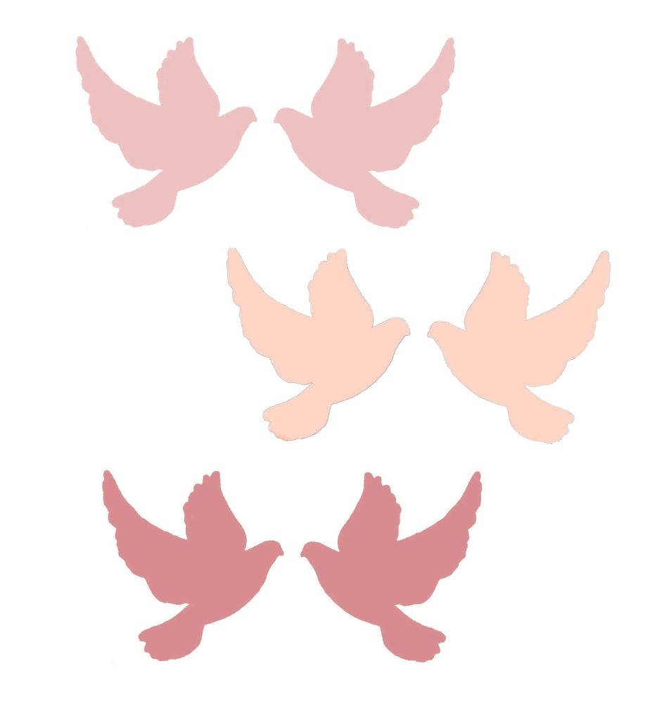 Pink Doves Crafting Embellishments x 18