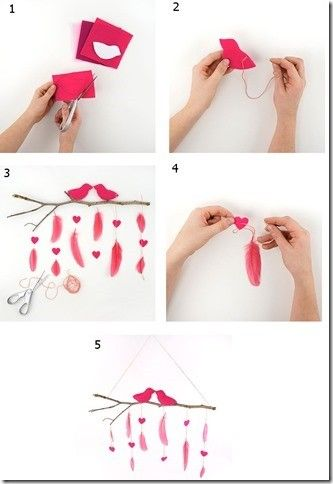 How to make a low cost Valentines Day hanging mobile using feathers and twi