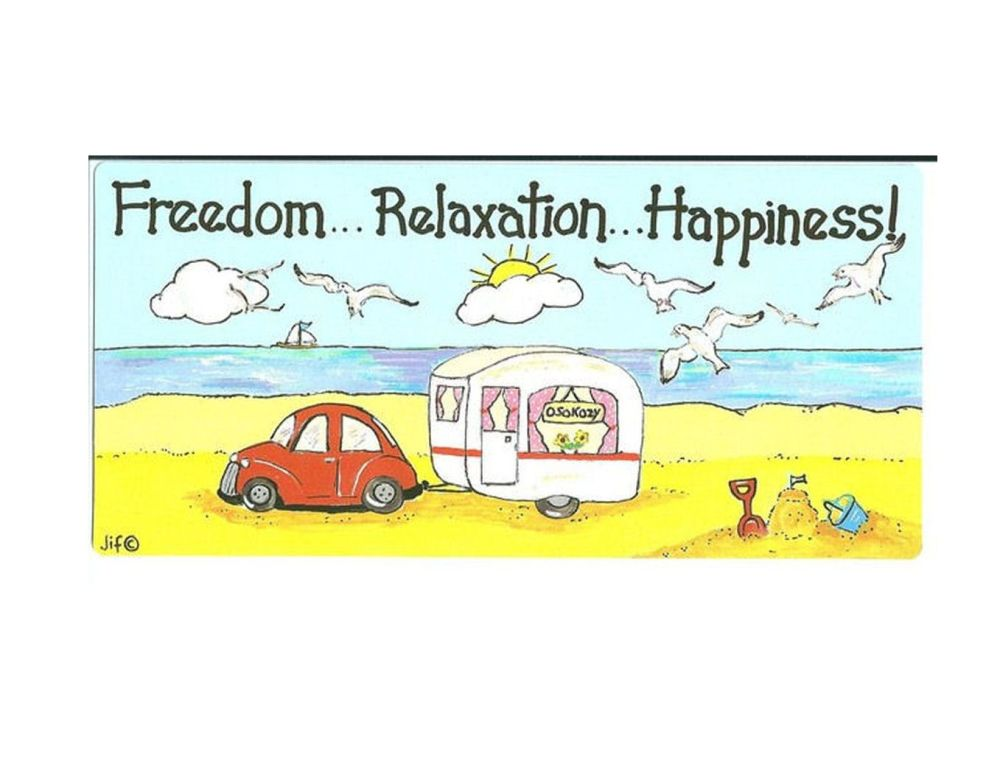 Caravan hanging caravan sign, freedom, relaxation, happiness