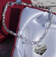 Personalised Daughter of the Bride Wedding Special Occasion Silver Charm Bracelet