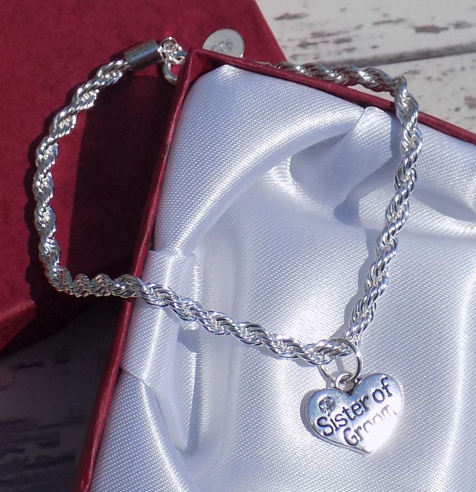 Sister of Groom Personalised Wedding Special Occasion Silver Charm Bracelet