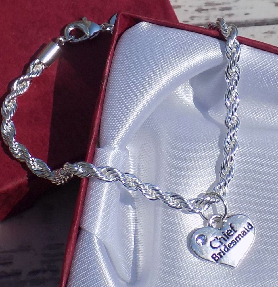 Chief Bridesmaid Wedding Special Occasion Silver Charm Bracelet