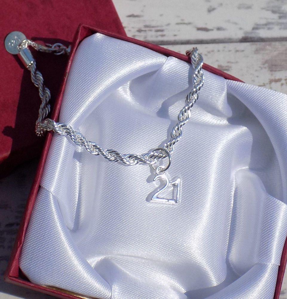 21st Silver Birthday Charm Bracelet