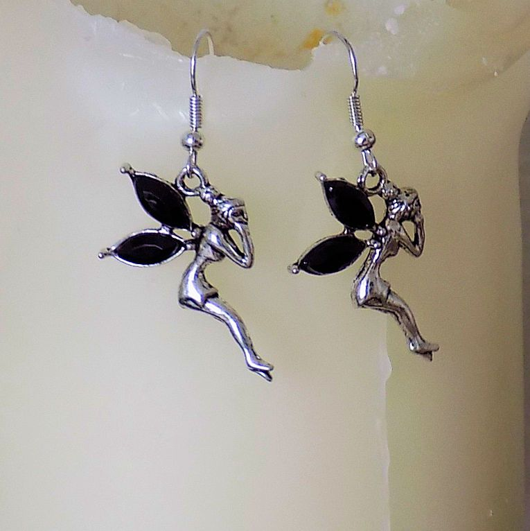 Fairy Earrings with Black Gemstone Detail in Silver Shade