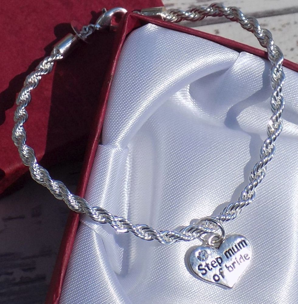 Step Mum of the Bride Wedding Special Occasion Silver Charm Bracelet