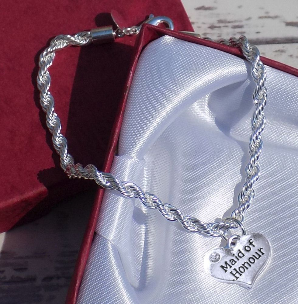 Maid of Honour Wedding Special Occasion Silver Charm Bracelet
