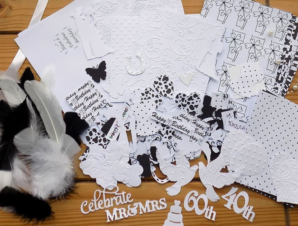 Bumper Craft Pack Black and White Theme Embellishments
