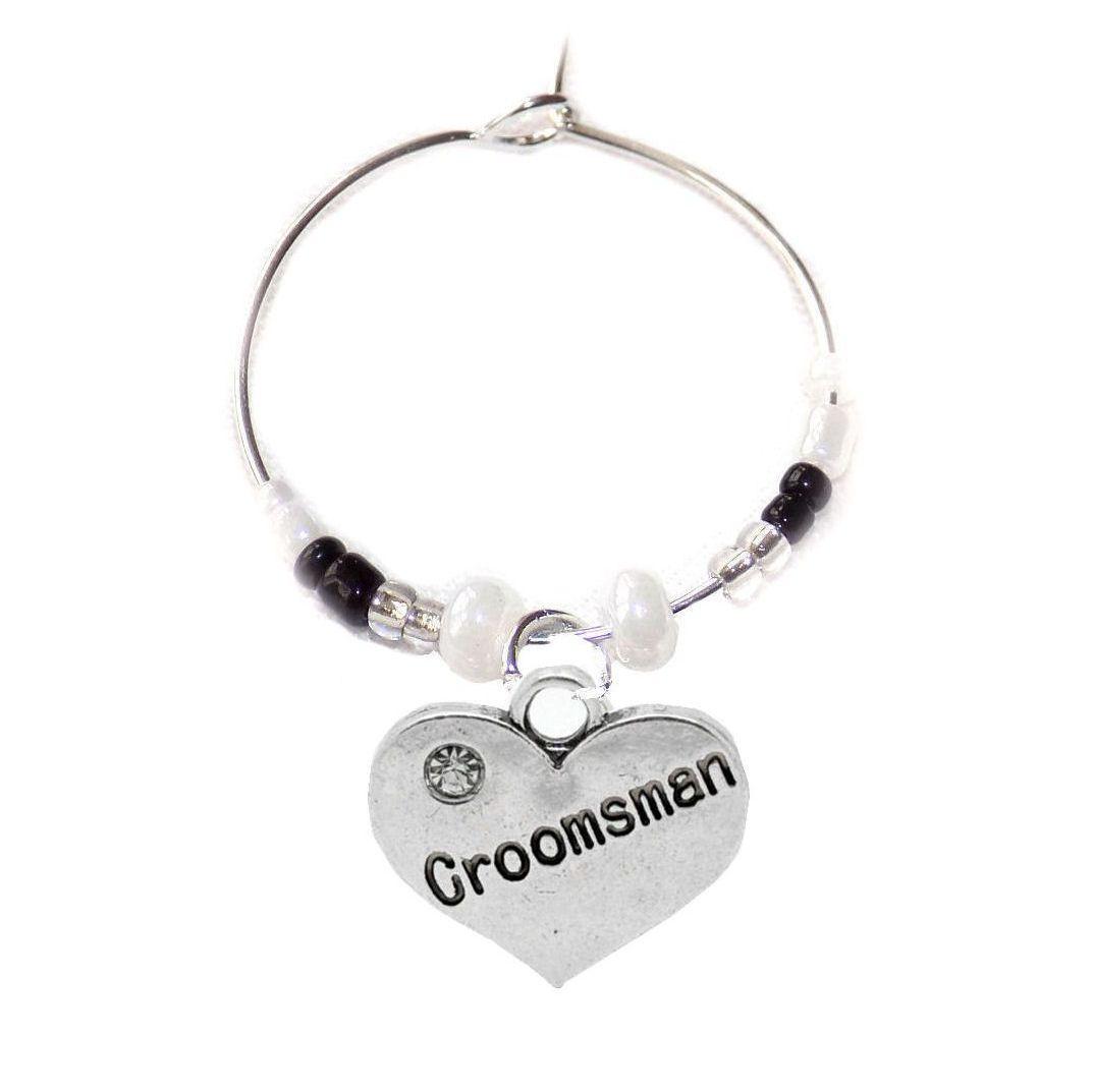 Groomsman Wine Glass Charm