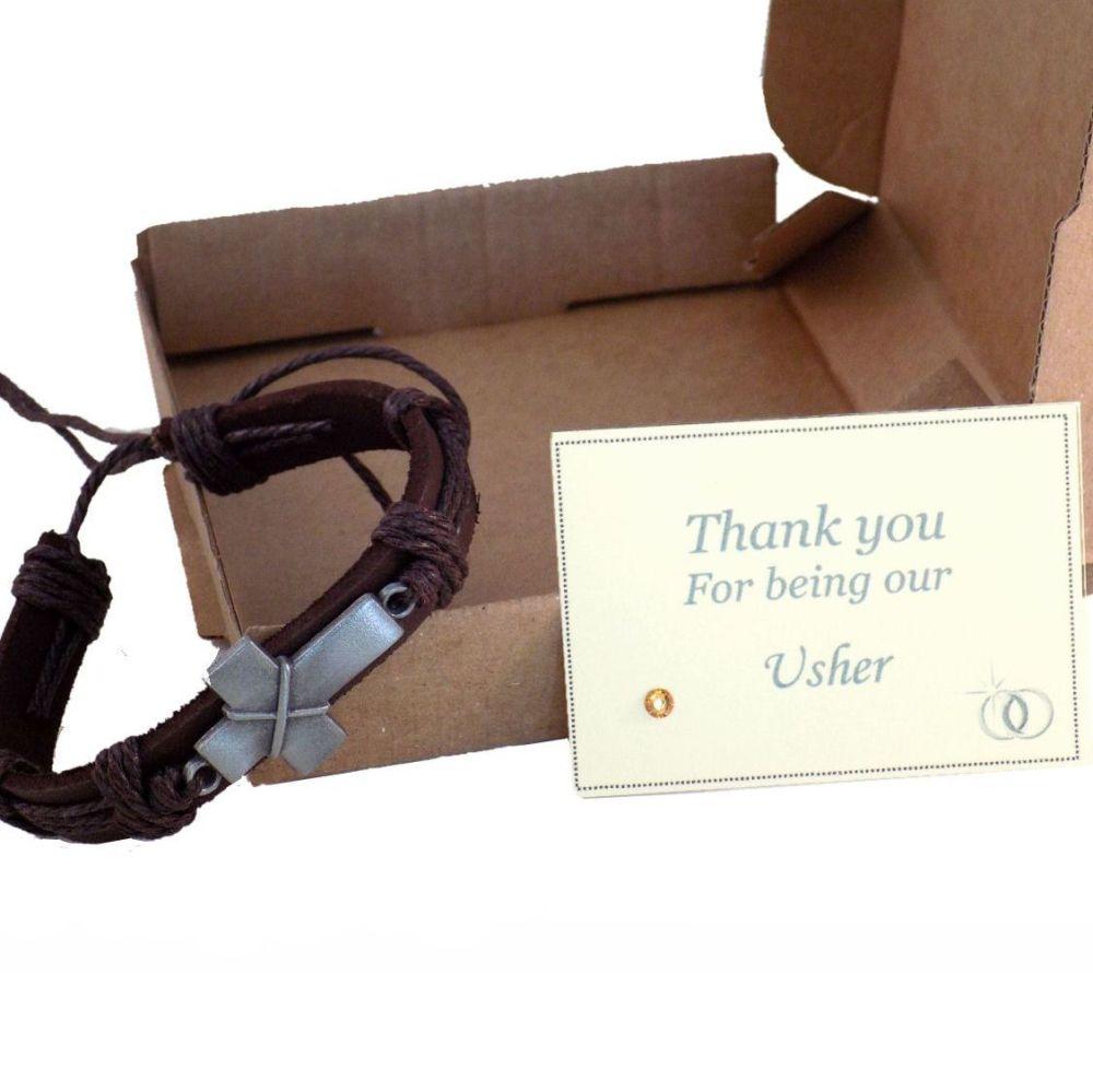 Usher Thank You Gift, Men's Leather Bracelet