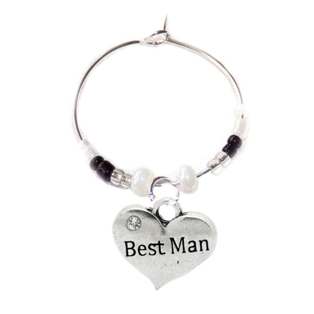 Best Man Wine Glass Charm