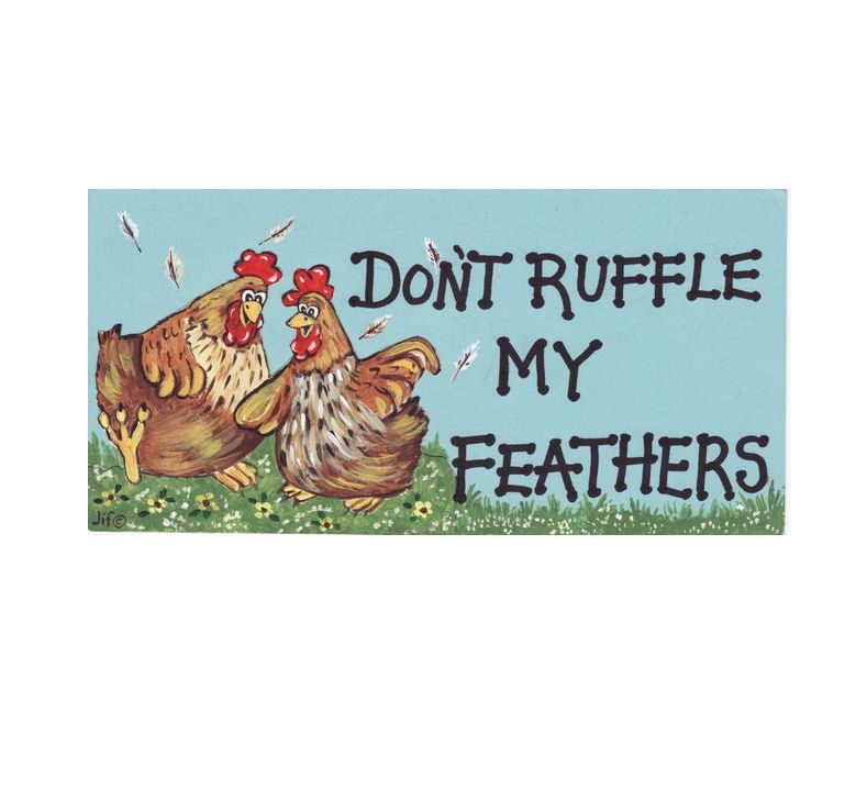 Don't Ruffle My Feathers Hanging Sign