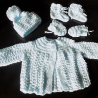 Baby Matinee Set Knitted Coat, Bonnet and Botties and Mittens Set, Baby Boy, Blue