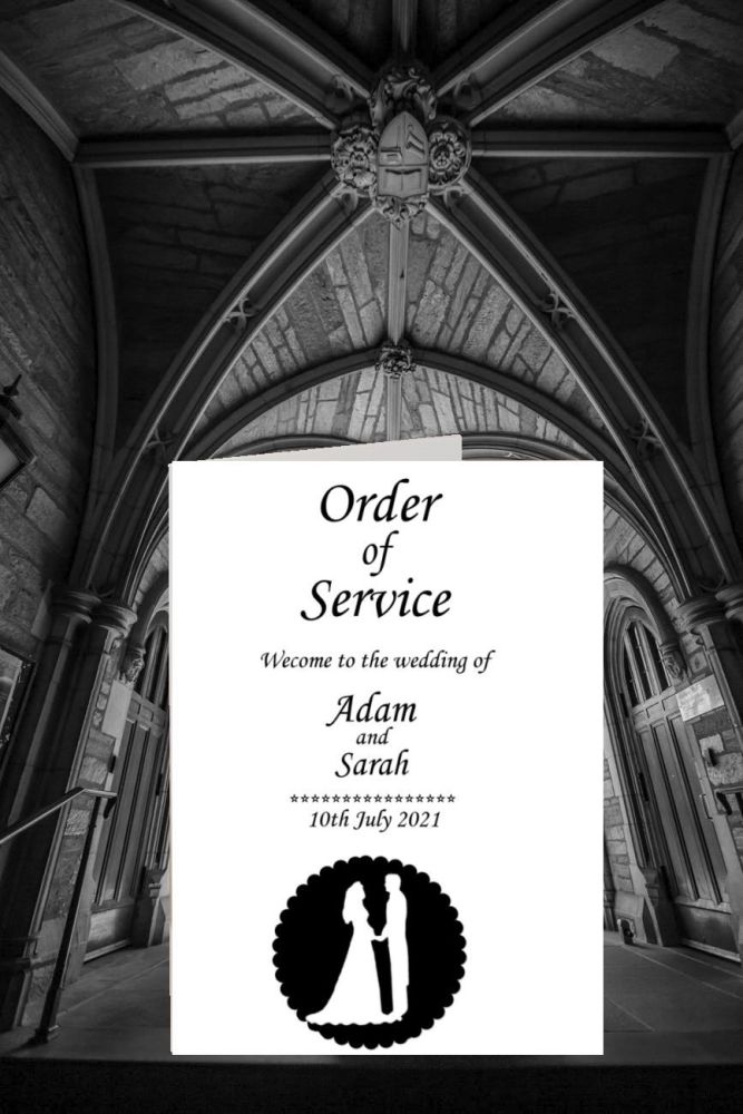 Order of service white card with a church wedding background