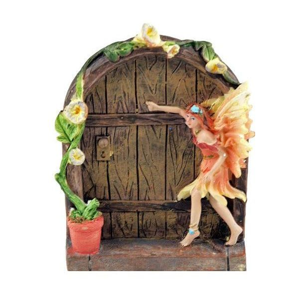 Fairy Door with Pink Peach Fairy