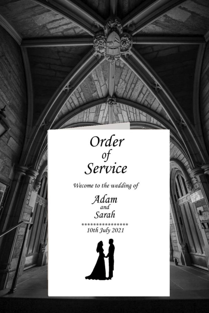 Order of service white card with a silhouette black bride and groom embelli