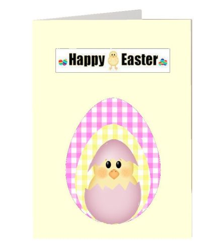 Easter chick greetings card idea for gingham paper and easter card making t