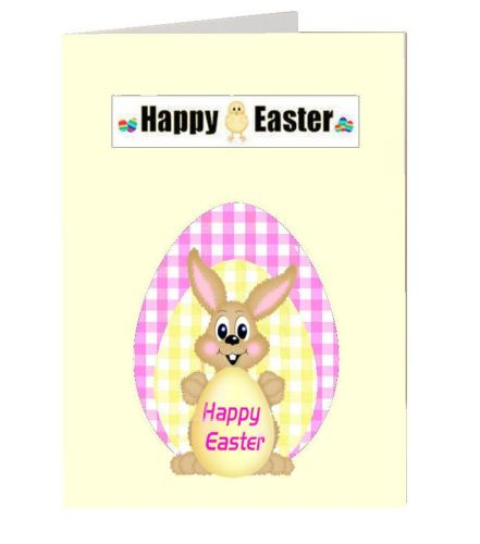 Easter bunny greetings card idea for gingham paper and easter card making t