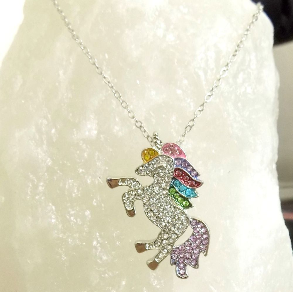 Unicorn Pendant Necklace in Silver with Gemstones