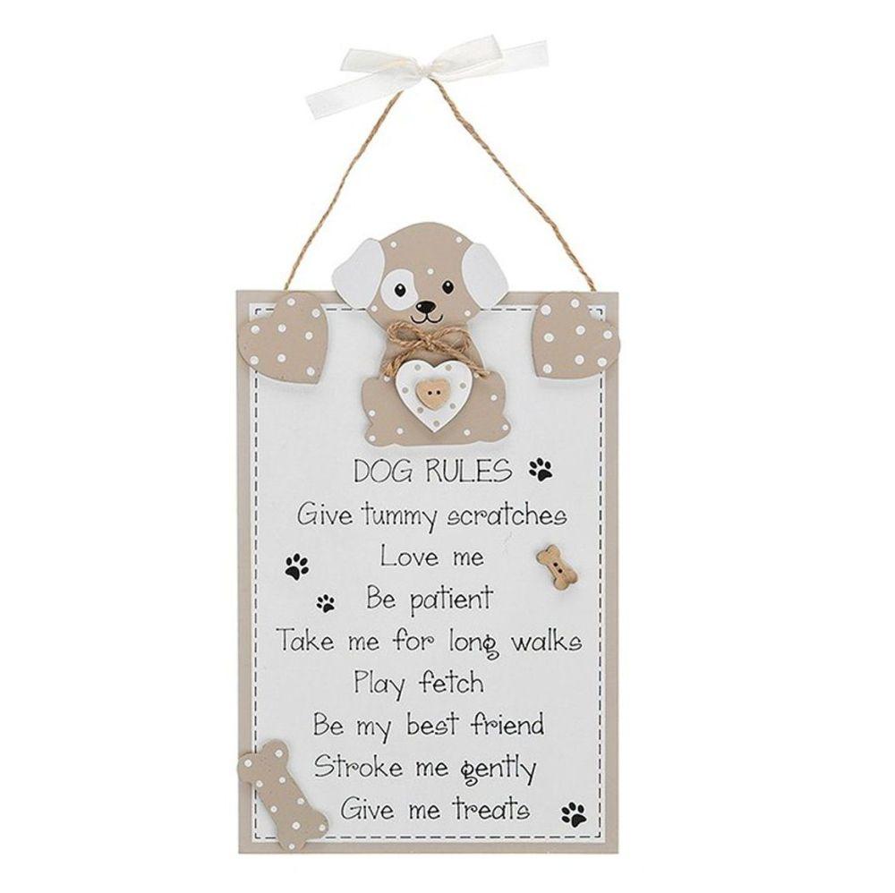 Dog Rules Plaque - Beige and Cream