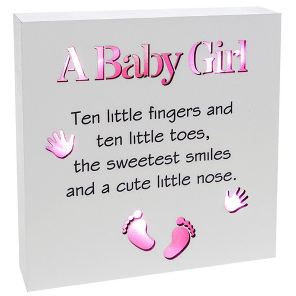 Baby Girl Reflections Light Up Plaque