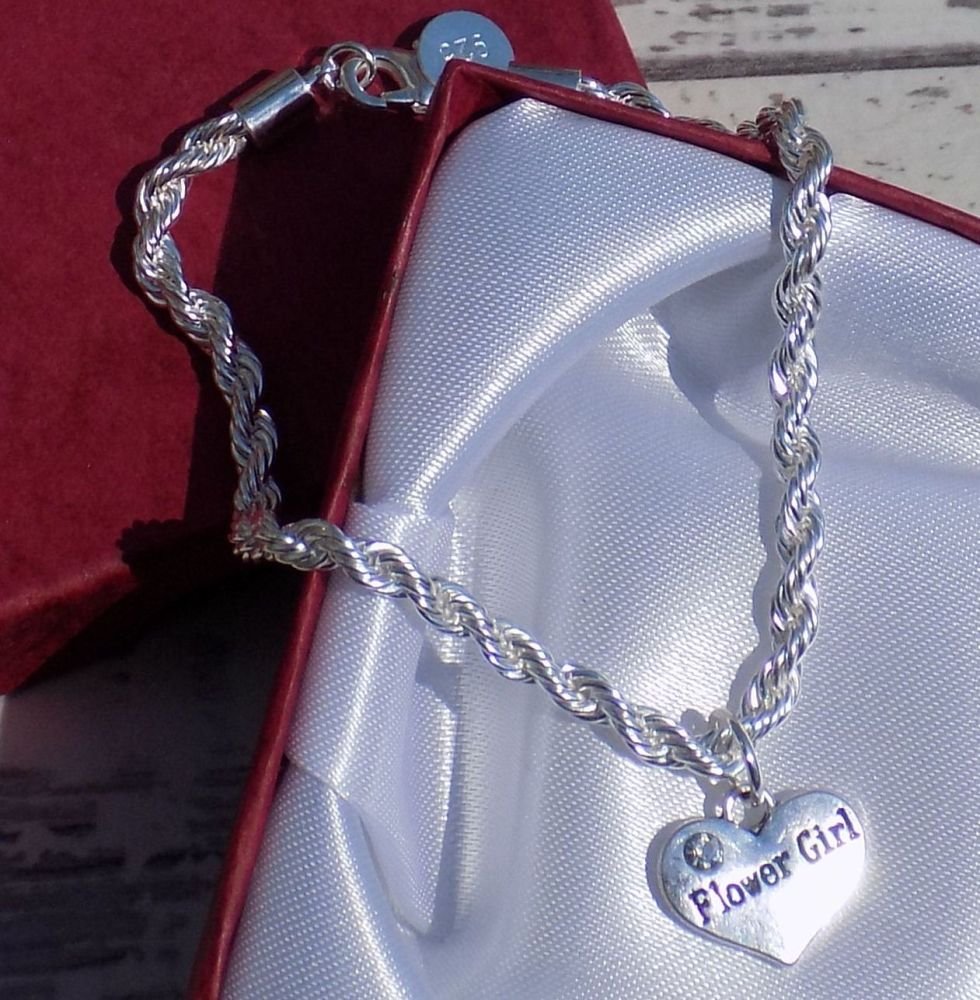 Flower Girl Wedding Special Occasion Silver Charm Bracelet