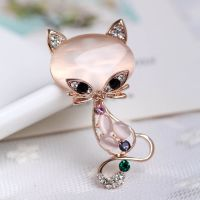 Cat Brooch with Rose Gold Detail