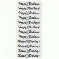 Happy Birthday Sticker Sentiments for Card Making and Crafts in Black and White