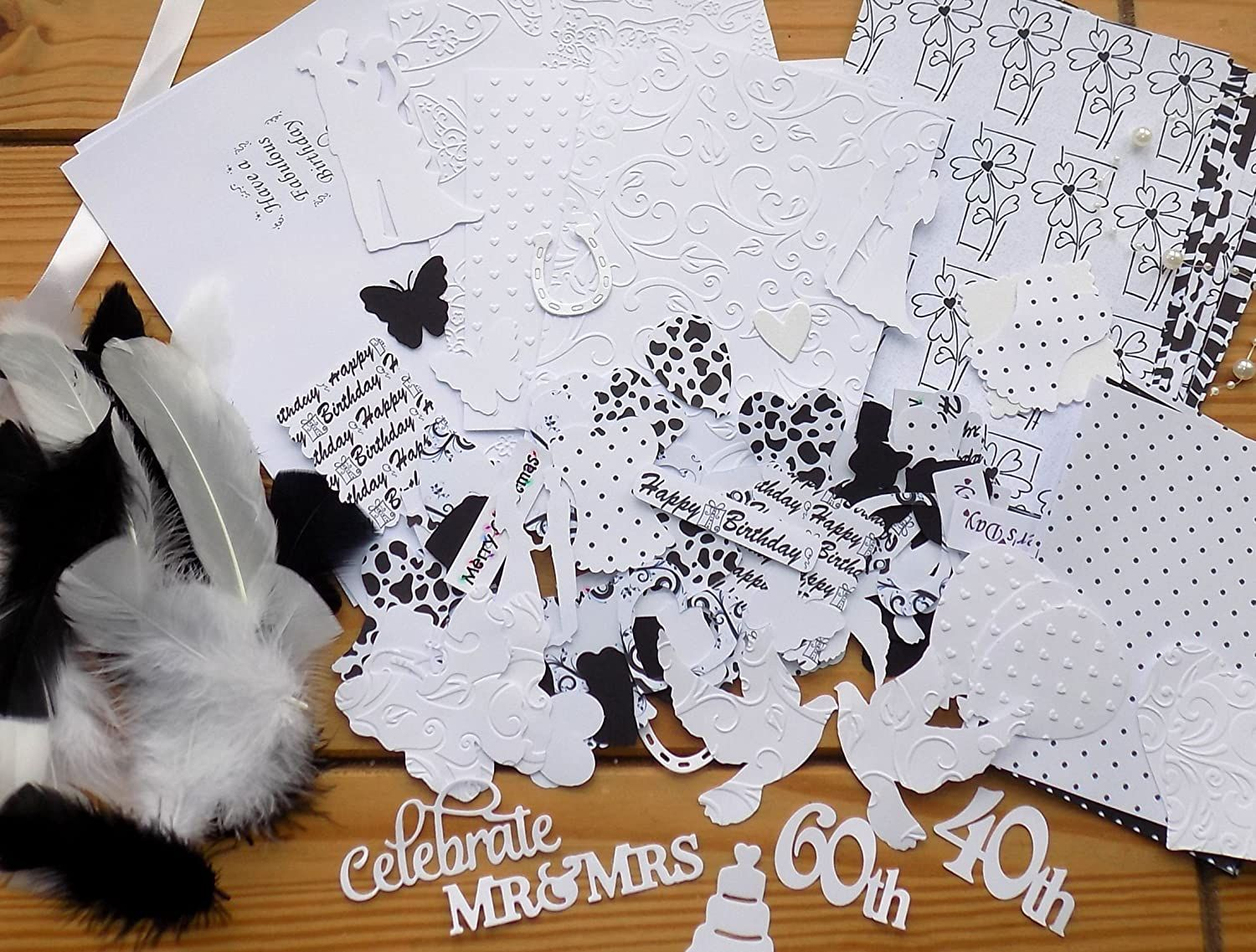 Black and White Theme Embellishments, Papers, Feathers etc.jpg