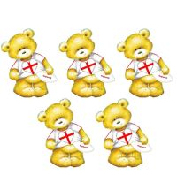 English Rugby Teddy Bear Card Toppers