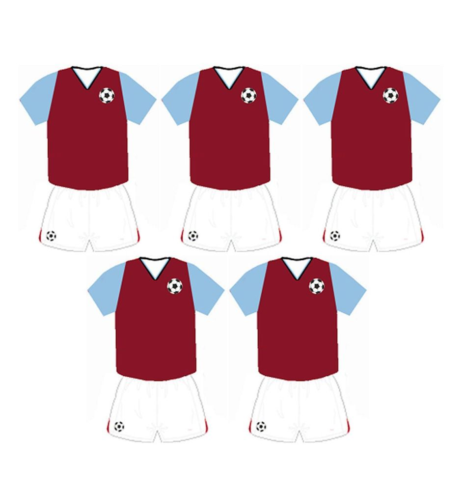 Football Card Making Toppers - Claret and Light Blue Team