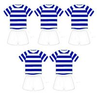 Football Card Making Toppers - Blue and White Stripe Team