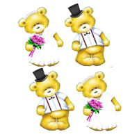 Bride and Groom Teddy Bear Toppers x 4