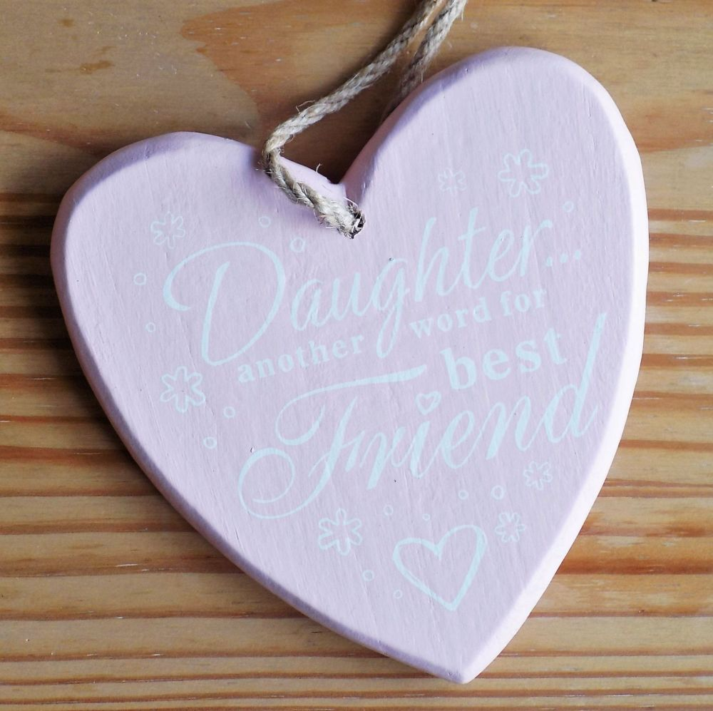 Daughter Chunky Heart Hanging Plaque - Baby Pink