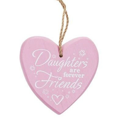 Daughter Chunky Heart Hanging Plaque - Pink