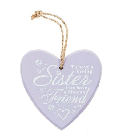 Sister Chunky Heart Hanging Plaque - Lilac