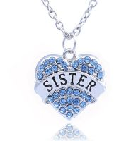 Sister Pendant Necklace in Silver with Blue Gems