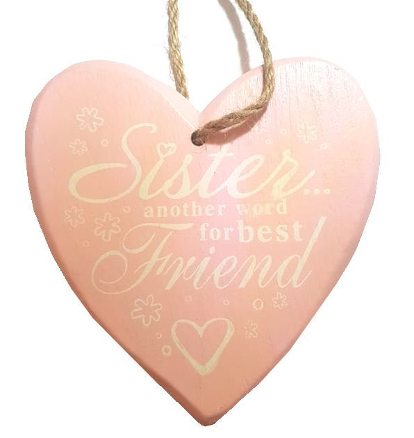 Sister Chunky Heart Hanging Plaque - Baby Pink