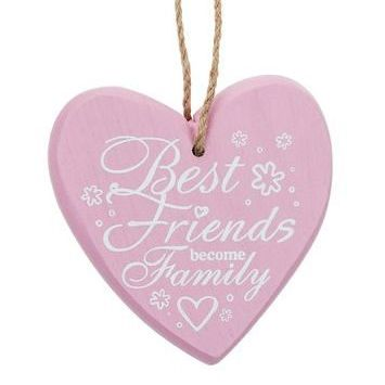 Best Friend Chunky Heart Hanging Plaque - Pink