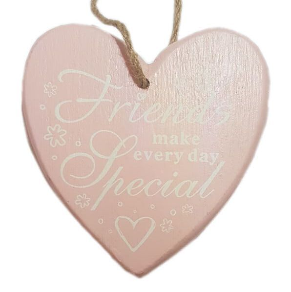 Friend Chunky Heart Hanging Plaque - Pink