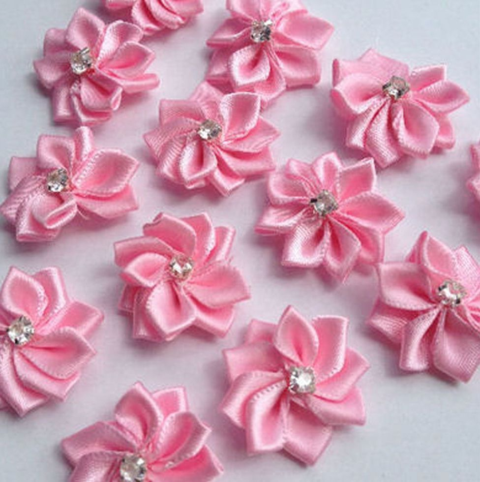 Pink Flower Embellishments with Gems